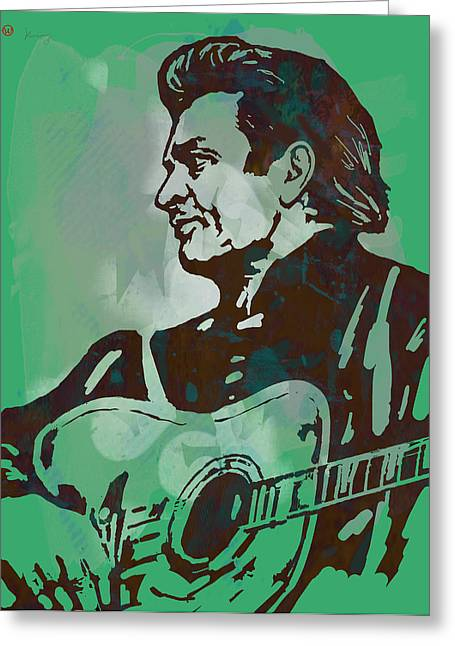 In Trouble Greeting Cards - Johnny Cash - Stylised Etching Pop Art Poster Greeting Card by Kim Wang