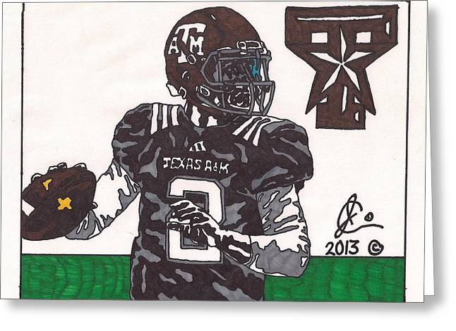 Texas A Drawings Greeting Cards - Johnny Manziel 16 Greeting Card by Jeremiah Colley