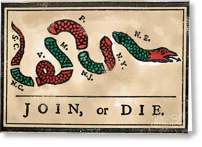 Join Or Die Greeting Cards - Join Or Die Cartoon 1754 Greeting Card by Granger