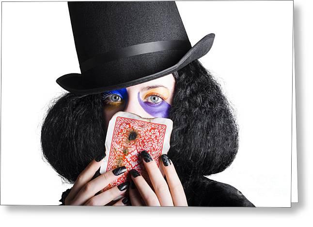 Jester Greeting Cards - Joker with burnt playing card Greeting Card by Ryan Jorgensen