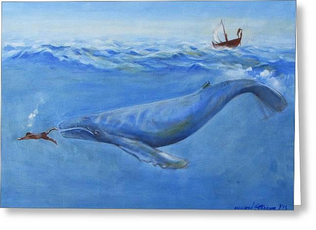 Jonah Paintings Greeting Cards - Jonah Greeting Card by Howard Stroman