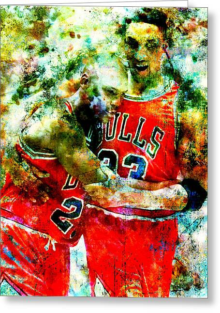 Pippen Digital Art Greeting Cards - Jordan and Pippen Greeting Card by Brian Reaves
