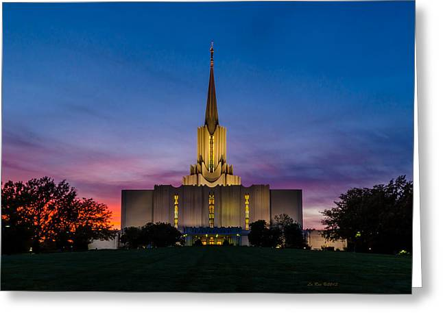 Mormon Temple Photography Greeting Cards - Jordan River Temple Sunset Greeting Card by La Rae  Roberts