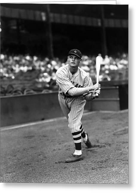 Cleveland Indians Stadium Greeting Cards - Joseph F. Joe Vosmik Greeting Card by Retro Images Archive