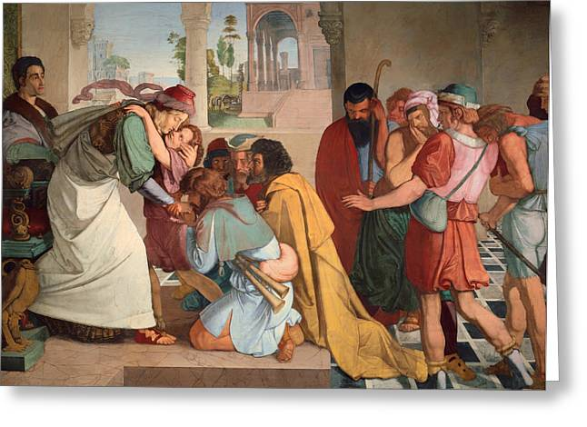 Religious work Paintings Greeting Cards - Joseph Reveals Himself to His Brothers Greeting Card by Peter von Cornelius
