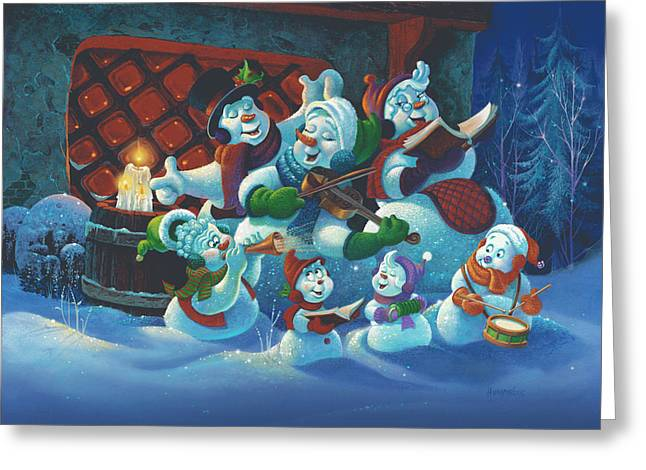 Snowman. Greeting Cards - Joy to the World Greeting Card by Michael Humphries