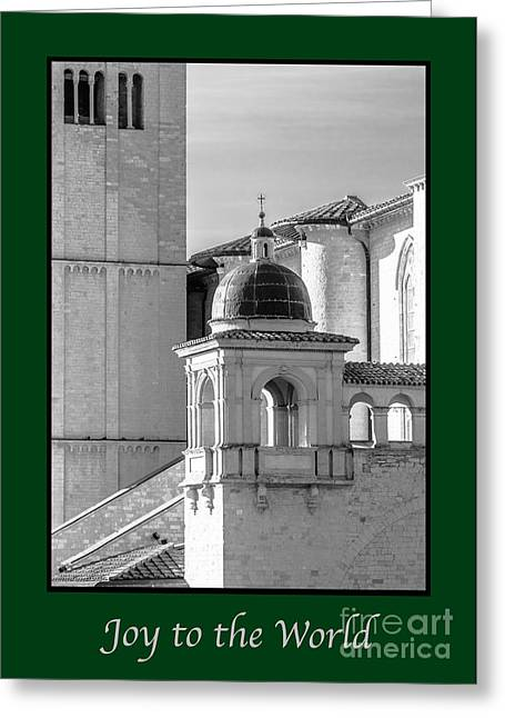 Joy To The World Greeting Cards - Joy to the World with Basilica Details Greeting Card by Prints of Italy