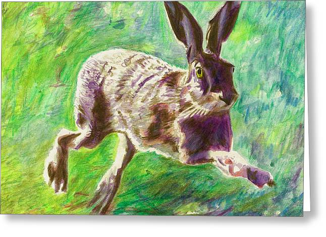 Hare Greeting Cards - Joyful Hare Greeting Card by Helen White