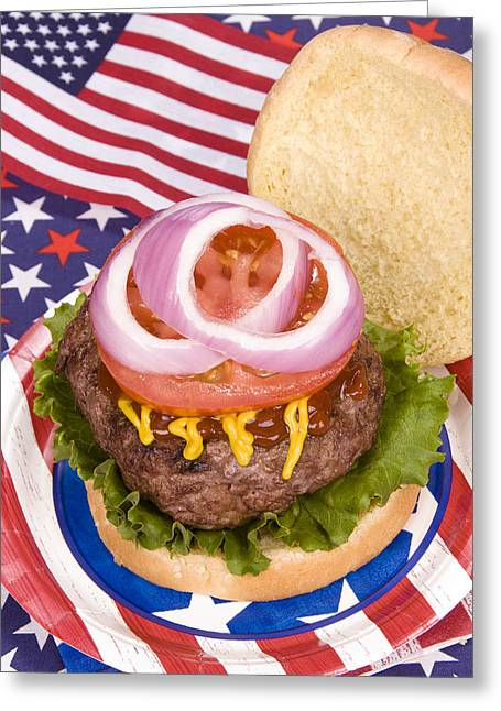 4th July Photographs Greeting Cards - Juicy fourth of July hamburger Greeting Card by Joe Belanger