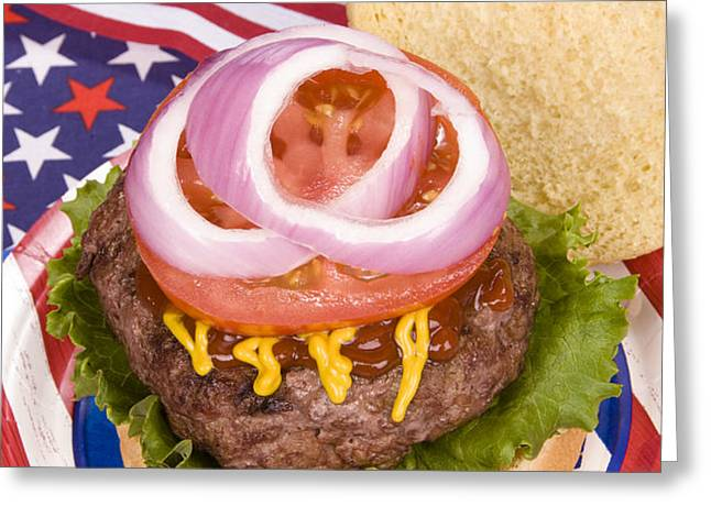 Juicy fourth of July hamburger Greeting Card by Joe Belanger
