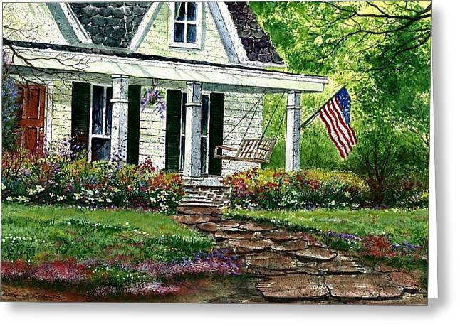 July 4th Paintings Greeting Cards - July 4th Greeting Card by Steven Schultz