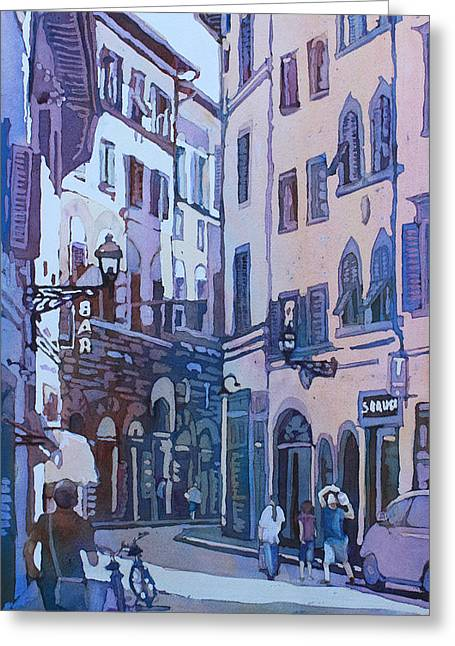 Florence Paintings Greeting Cards - July in Florence Greeting Card by Jenny Armitage