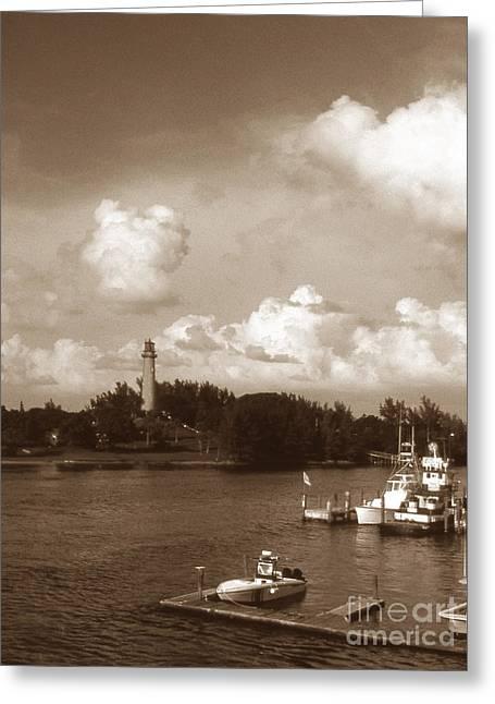 Jupiter Inlet Greeting Cards - Jupiter Inlet Lighthouse Greeting Card by Skip Willits