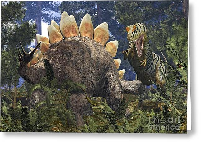 Confronting Greeting Cards - Jurassic Dinosaurs, Artwork Greeting Card by Walter Myers