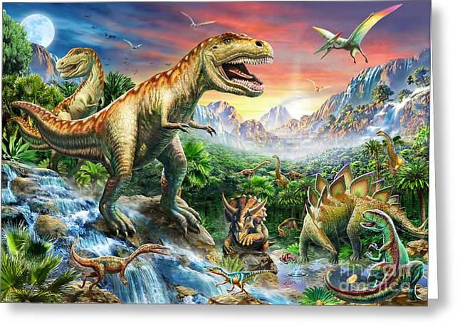 Dinosaurs Greeting Cards - Jurassic Landscape Greeting Card by Adrian Chesterman