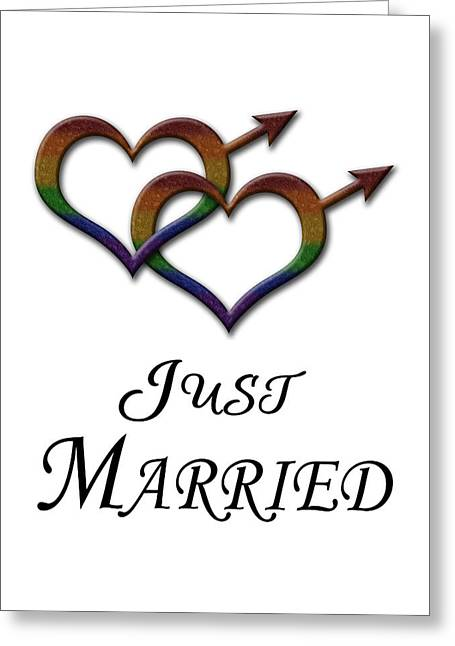 Just Married Gay Pride Greeting Card by Tavia Starfire