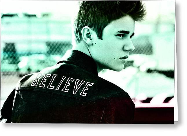Justin Bieber Digital Art Greeting Cards - Justin Bieber  Greeting Card by Marvin Blaine
