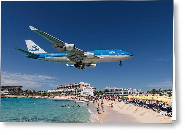 Klm Greeting Cards - K L M at St. Maarten Greeting Card by David Gleeson