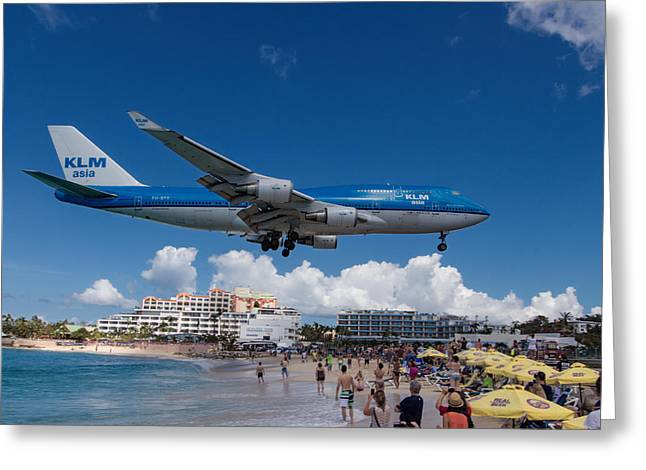Klm Greeting Cards - K L M landing at St. Maarten Greeting Card by David Gleeson