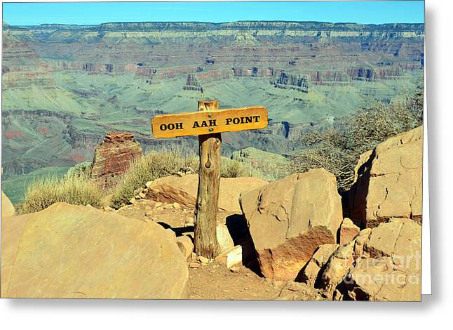 Grand Canyon Photographs Greeting Cards - Kaibab Trail Ooh Aah Point Sign and Vista Grand Canyon National Park Greeting Card by Shawn O