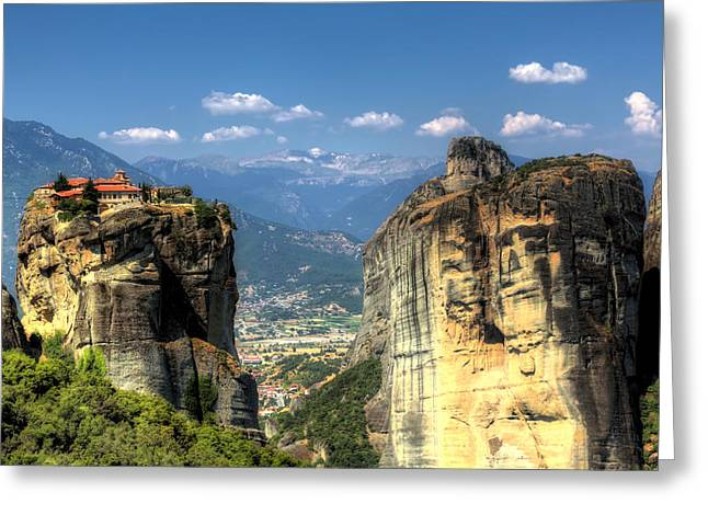 Goff Greeting Cards - Kalambaka beneath the Meteora of Greece Greeting Card by Micah Goff