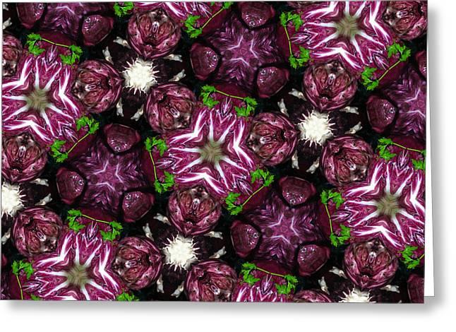 Lettuce Greeting Cards - Kaleidoscope Raddichio Lettuce Greeting Card by Amy Cicconi