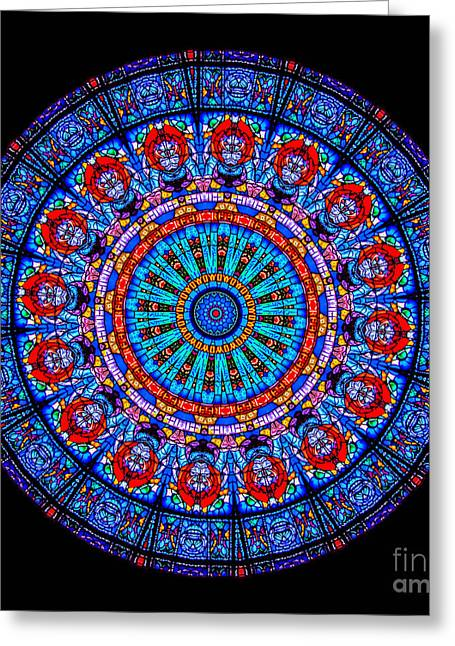 Stained Glass Greeting Cards - Kaleidoscope Stained Glass Window Series Greeting Card by Amy Cicconi