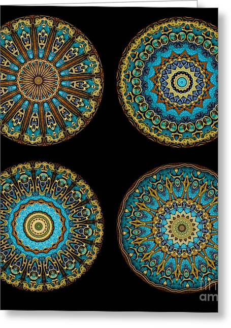 Four Greeting Cards - Kaleidoscope Steampunk Series Montage Greeting Card by Amy Cicconi