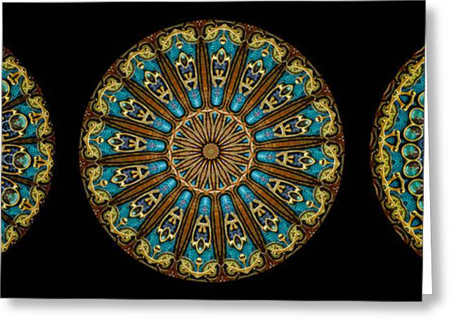 Power Greeting Cards - Kaleidoscope Steampunk Series Triptych Greeting Card by Amy Cicconi