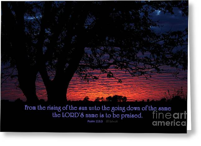 The Sun God Greeting Cards - Kansas Sunset - Psalm 113 Greeting Card by E B Schmidt