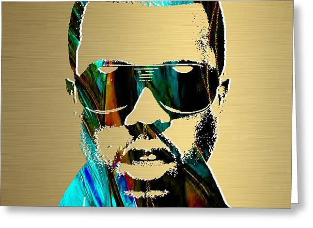Pop Mixed Media Greeting Cards - Kanye West Gold Series Greeting Card by Marvin Blaine