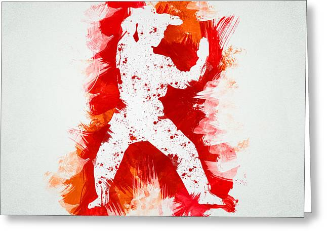 Training Mixed Media Greeting Cards - Karate Fighter Greeting Card by Aged Pixel