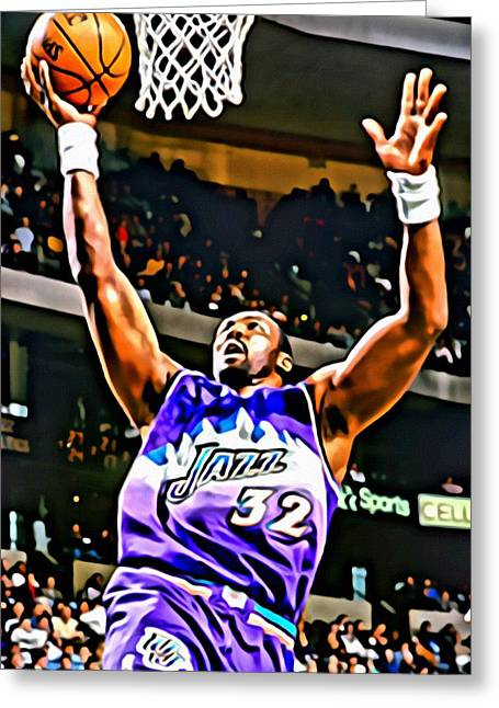Karl Malone Greeting Cards - Karl Malone Greeting Card by Florian Rodarte