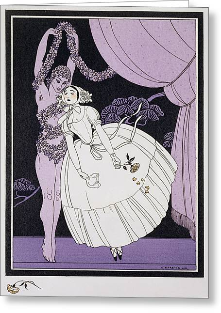 Ballet Dancers Greeting Cards - Karsavina Greeting Card by Georges Barbier