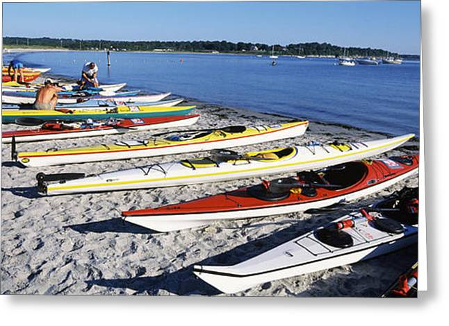 Water Vessels Greeting Cards - Kayaks On The Beach, Third Beach Greeting Card by Panoramic Images