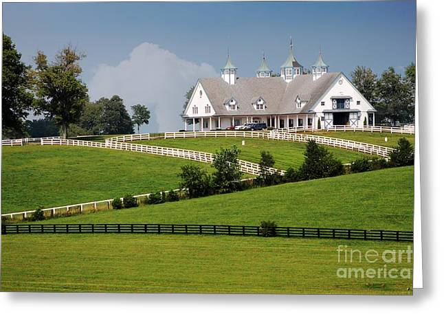 Keeneland Greeting Cards - Keeneland Stables Greeting Card by Bruce LaDuke