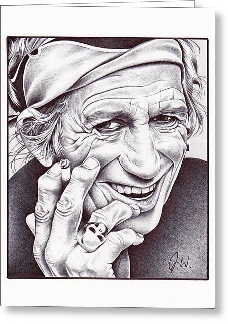Rolling Stones Greeting Cards - Keith Richards Greeting Card by Jamie Warkentin
