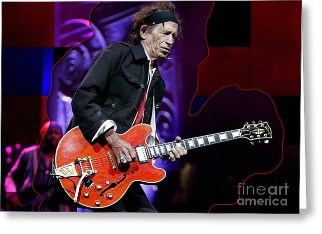 Black And White Images Mixed Media Greeting Cards - Keith Richards Greeting Card by Marvin Blaine