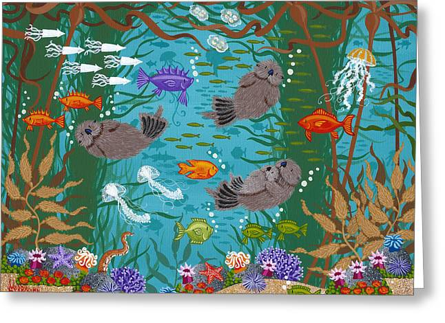 Kelp Greeting Cards - Kelp Forest Otters VIII Greeting Card by Merry  Kohn Buvia