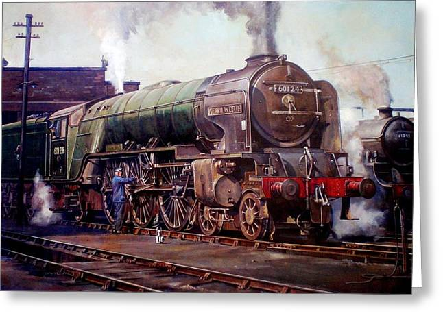 Trains Paintings Greeting Cards - Kenilworth on shed. Greeting Card by Mike  Jeffries