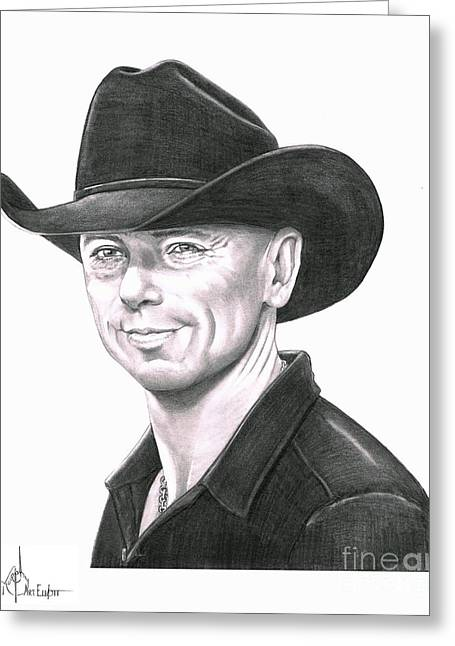 Western Pencil Drawings Greeting Cards - Kenny Chesney Greeting Card by Murphy Elliott