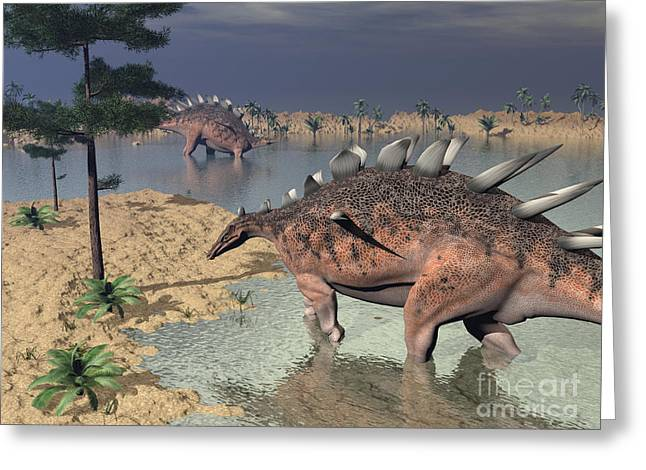 Zoology Greeting Cards - Kentrosaurus Dinosaurs Walking Greeting Card by Elena Duvernay