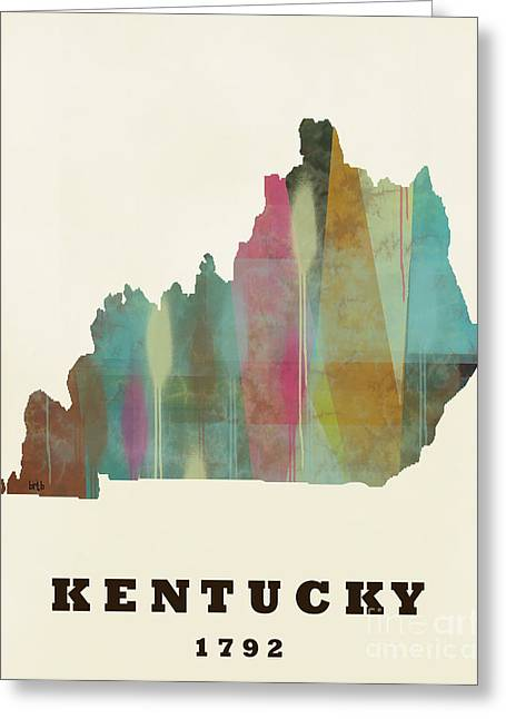 World Map Print Paintings Greeting Cards - Kentucky State Map Modern Greeting Card by Bri Buckley