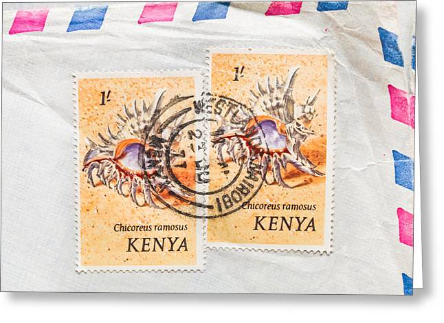 Send Greeting Cards - Kenya Stamp Greeting Card by Tom Gowanlock