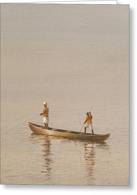Fishing Boats Greeting Cards - Kerala Fishermen Greeting Card by Lincoln Seligman