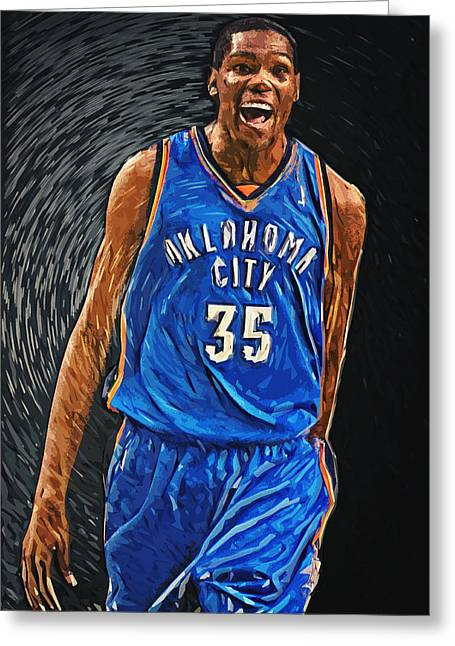 Kobe Bryant Dunk Digital Greeting Cards - Kevin Durant Greeting Card by Taylan Soyturk