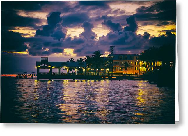 Glowing Water Greeting Cards - Key West at Sunset Greeting Card by Mountain Dreams