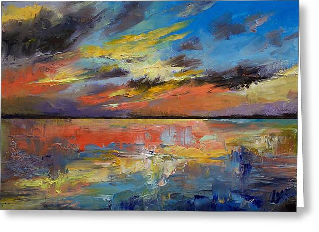 Sunset Abstract Greeting Cards - Key West Florida Sunset Greeting Card by Michael Creese