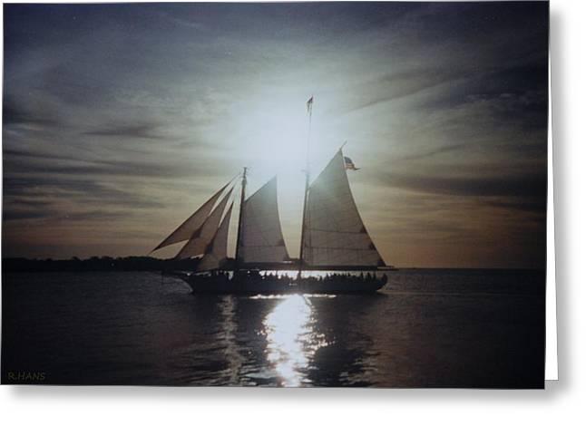 Yellow Sailboats Digital Art Greeting Cards - Key West Sails Greeting Card by Rob Hans