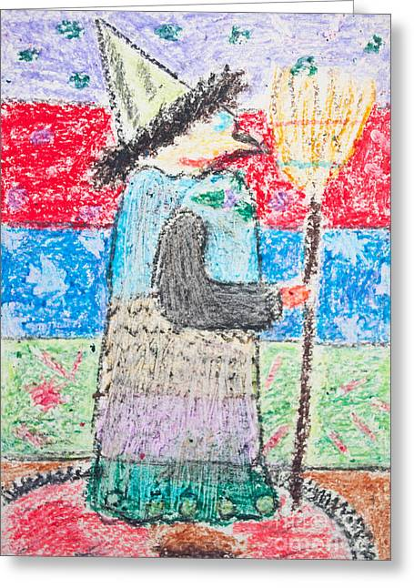 Childish Dreams Greeting Cards - Kids drawing of witch with broom Greeting Card by Aleksandar Mijatovic